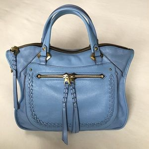 "OrYANY ""Sarah"" Sky Blue Leather Satchel"